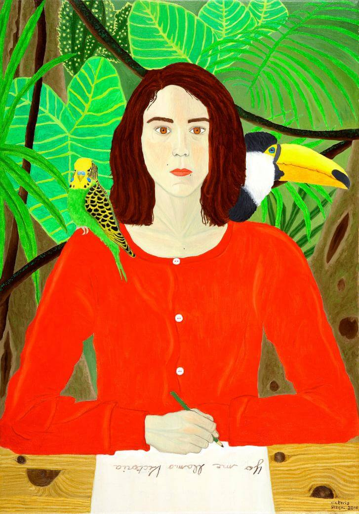 Yo me llamo Victoria- Self-portrait with parakeet and toucan.