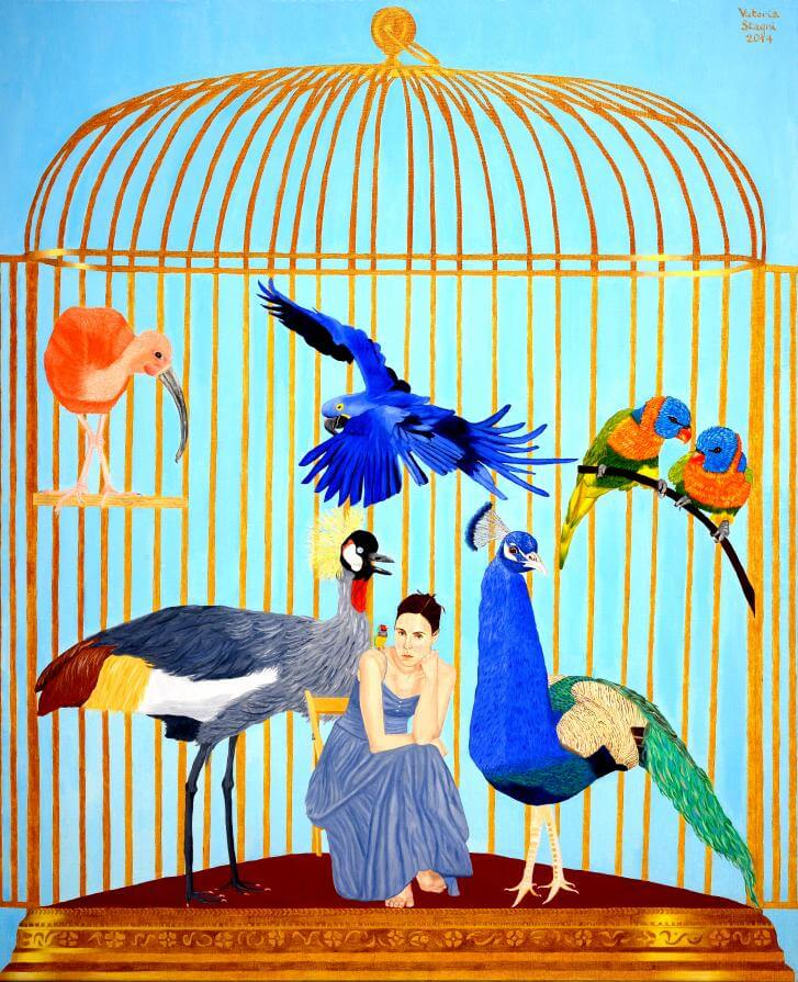 The cage- Self-portrait with birds.